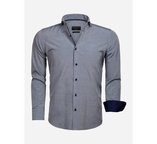 Gaznawi Overhemd Lange Mouw 65022 Aosta Navy White