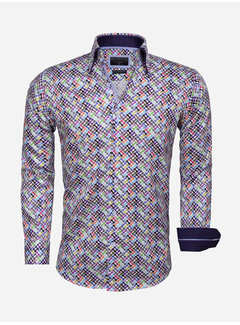Gaznawi Overhemd Lange Mouw 65036 White Royal Blue