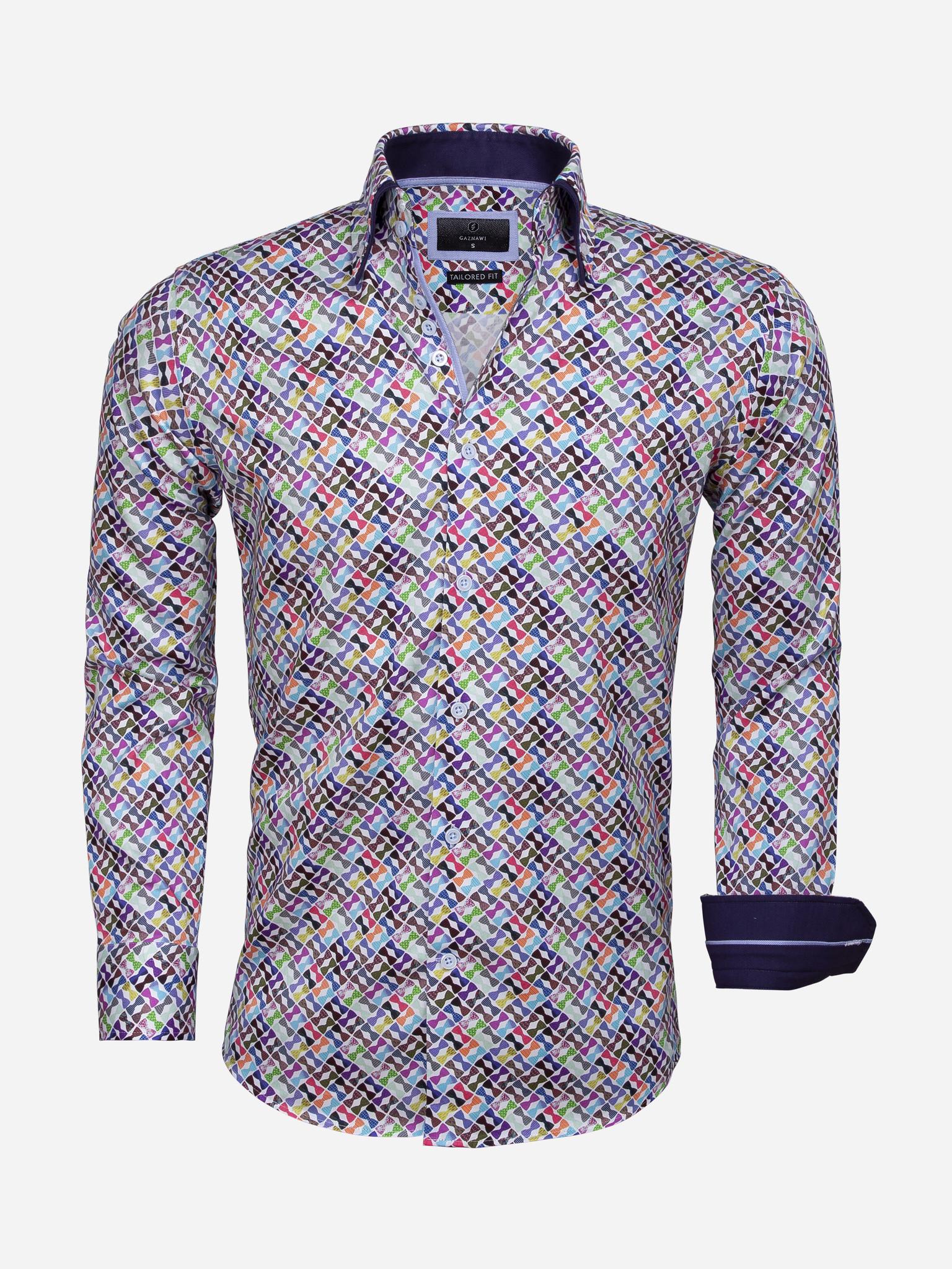 Gaznawi Overhemd Lange Mouw 65036 White Royal Blue Maat: 2XL
