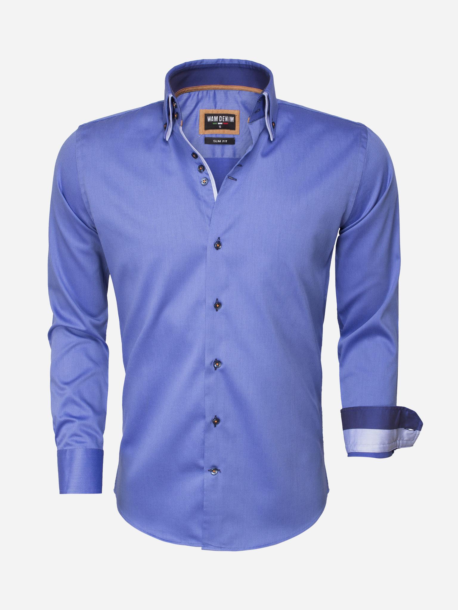 Wam Denim Overhemd Lange Mouw  Maat: 2XL
