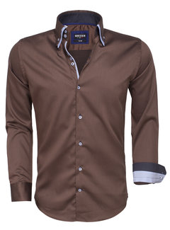 Wam Denim Overhemd Lange Mouw 75464 Brown