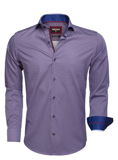Wam Denim Overhemd Lange Mouw 75533 Navy Dark Red