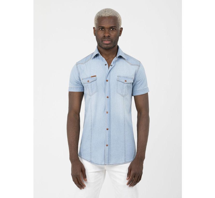 Overhemd Korte Mouw Gandra Blue