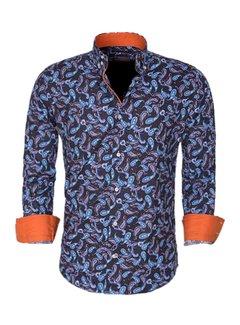 Arya Boy Overhemd Lang Mouw 85269 Blue Orange