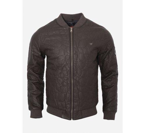 Wam Denim Leather Jacket 91003 Brown