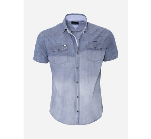 Arya Boy Overhemd Korte Mouw  13Y521 Blue Black