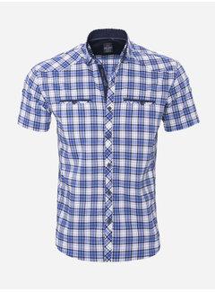 Arya Boy Overhemd Korte Mouw 18Y8533 Wit-Blauw