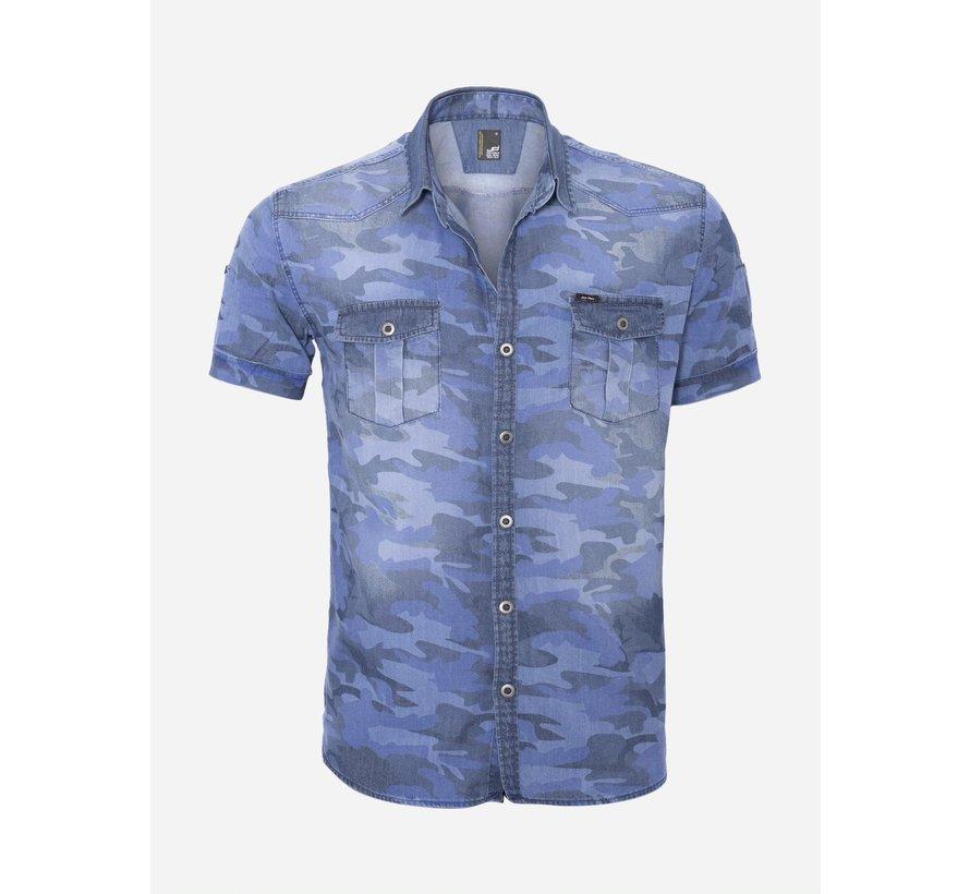 Overhemd Korte Mouw 14Y6450 Indigo