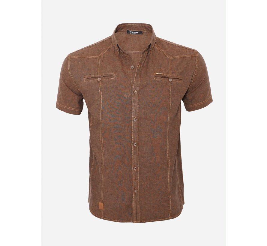 Overhemd Korte Mouw 15Y7854 Dark Brown