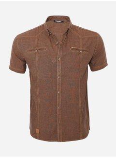 Arya Boy Overhemd Korte Mouw 15Y7854 Dark Brown