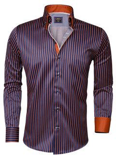 Wam Denim Overhemd  Lange Mouw 75149 Navy Orange