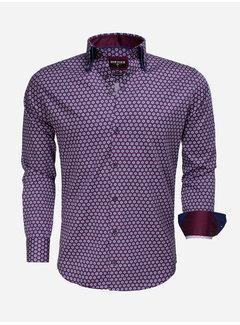 Wam Denim Long Sleeve Shirt 75532 Navy Dark Red