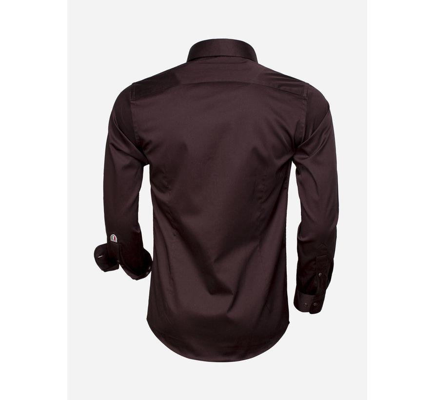 Shirt Langs Leeve 75493 Dark Brown