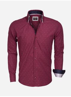 Wam Denim Shirt Langs Leeve 75354 Dark Red Navy