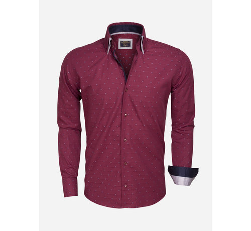 Wam Denim Shirt Langs Leeve 75354 Dark Red Gray