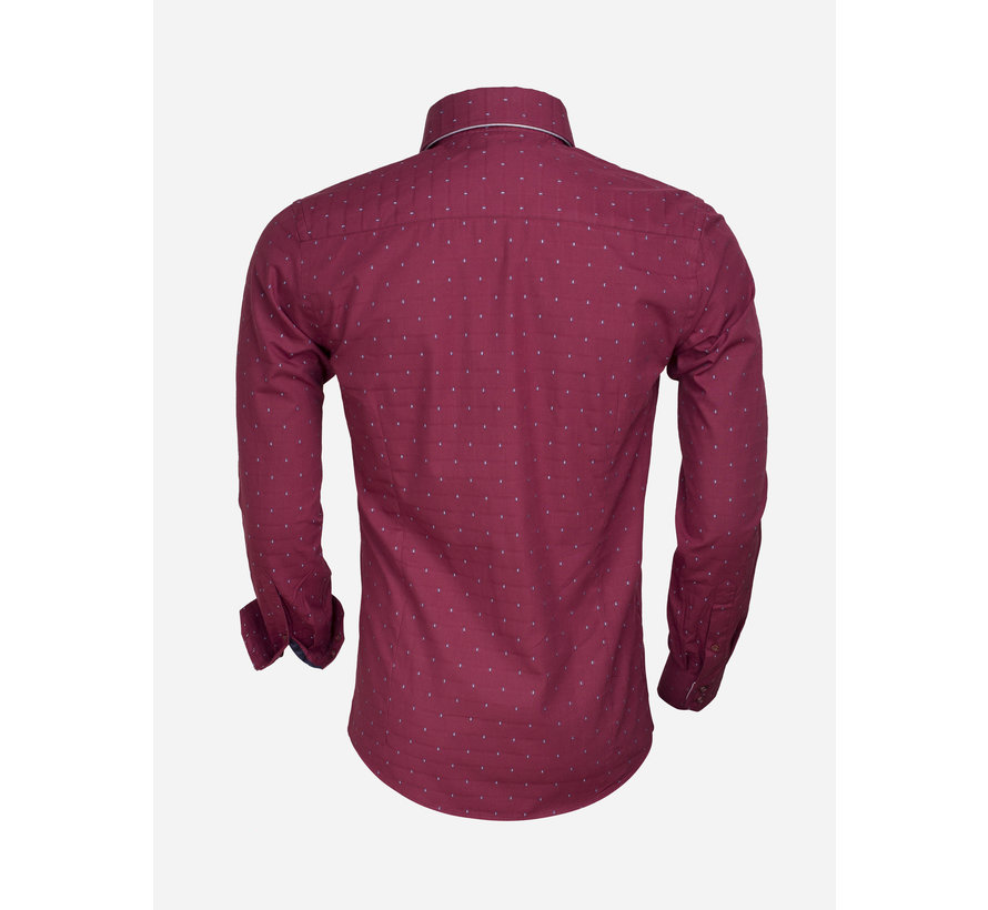 Shirt Langs Leeve 75354 Dark Red Gray