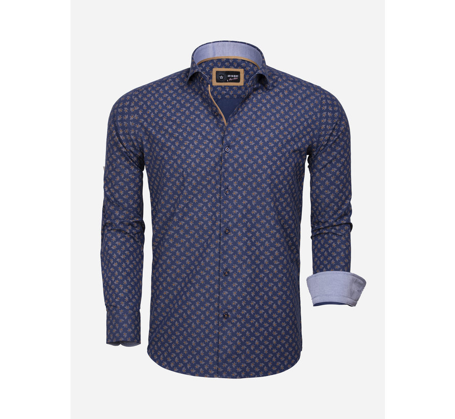 Overhemd Lange Mouw 85282 Navy Peru