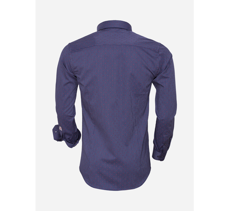 Shirt Long Sleeve 75466 Navy White