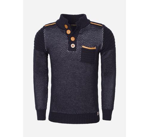 Wam Denim Sweater 77206 Navy White
