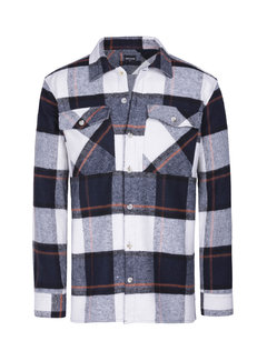 Wam Denim Long Sleeve Shirt Hugh Navy Off White