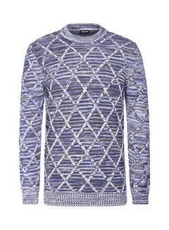 Wam Denim Sweater Flinn Grey Royal Blue