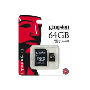 Kingston 64GB MicroSD Class 10 + SD Adapter