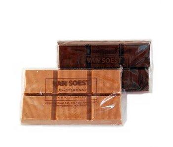 GEVULDE CHOCOLADE REEP GEZOUTEN CARAMEL MELK/PUUR