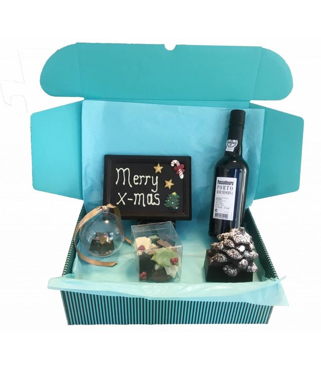Chocolate items with a matching bottle of port