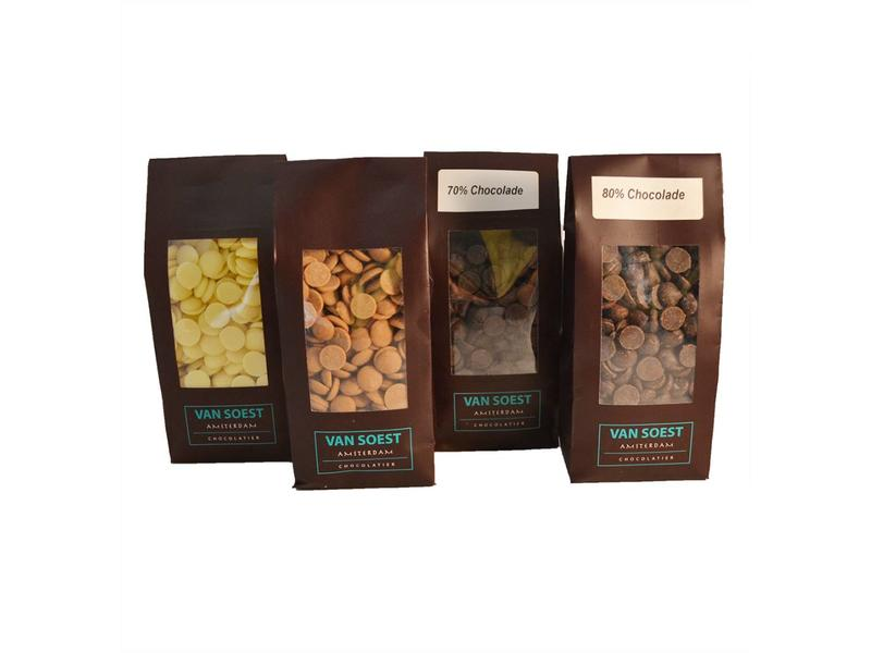 CHOCOLADE DRUPS MELK/PUUR/WIT 200GR