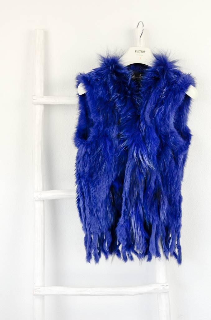 Kobalt Blauw Bont fluffy vestje Blauw