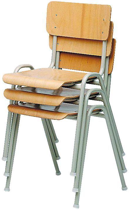 Schoolstoel Hout Stapelbaar