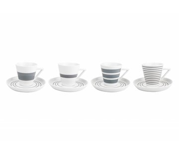 S&P STRIPES cup and saucer 140 ml (gray) set / 4