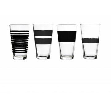 S&P RAYAS vaso largo de bebida 325 ml (negro) set / 4