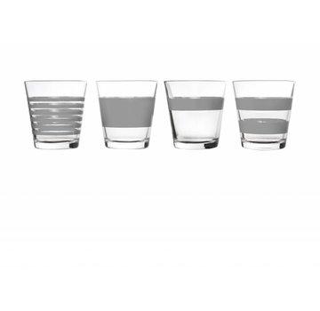 S&P RAYAS de vidrio 265 ml (gris) set / 4