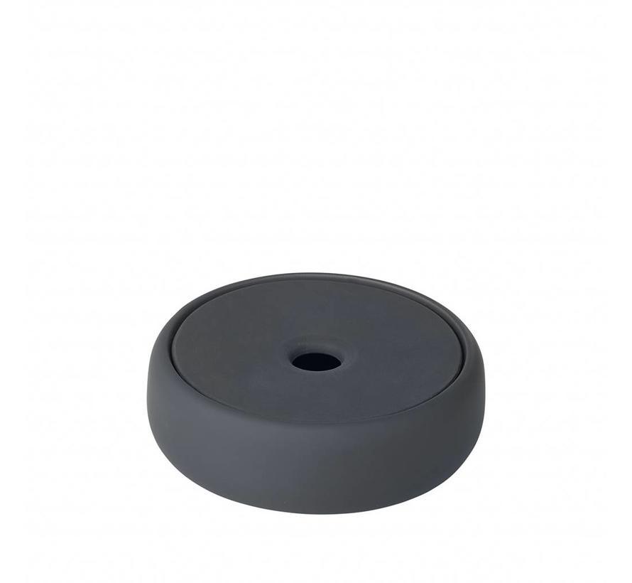 Opbergbox /zeepschaal SONO  kleur Magnet, donkergrijs (69042) Ø12 cm