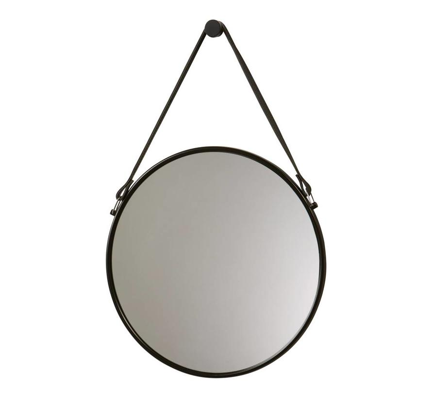 Wall mirror with belt THYMO black (THYMIR-09)