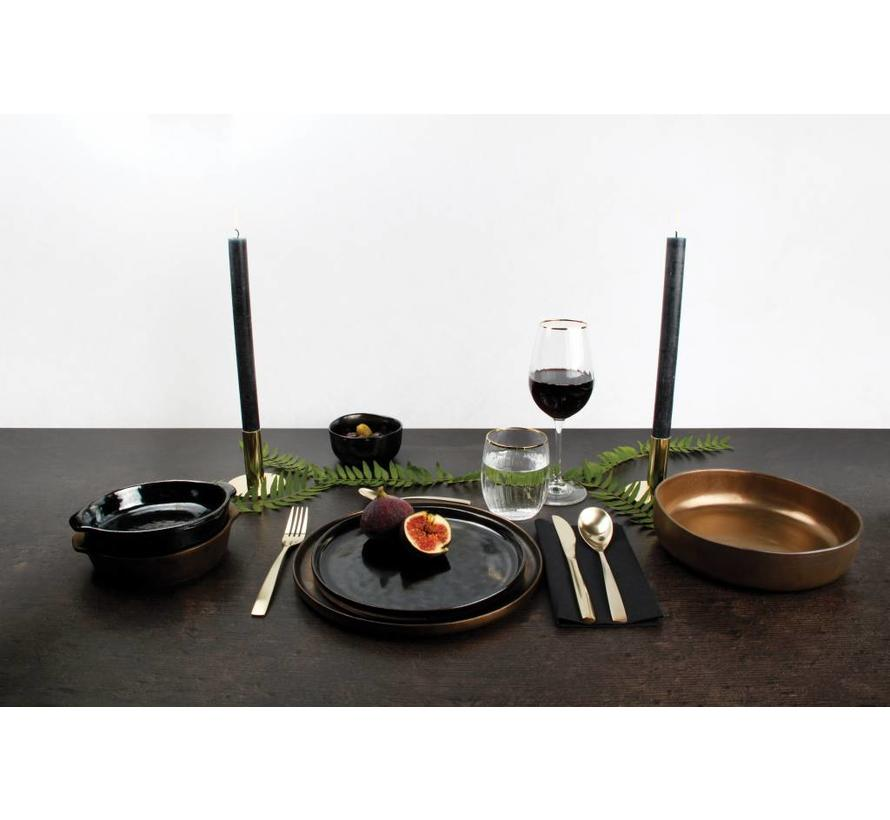 Plat bord 22 cm BLACK&GOLD zwart (set/4) 803320