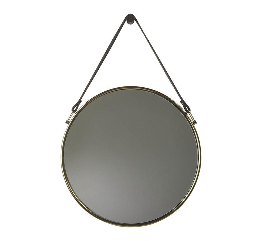 Espejo de pared con cinturón THYMO dorado (THYMIR-127)