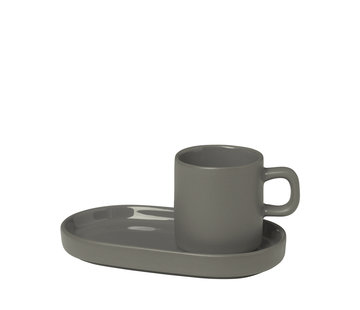 Blomus PILAR 2 espresso cups 50ml with Pewter saucer