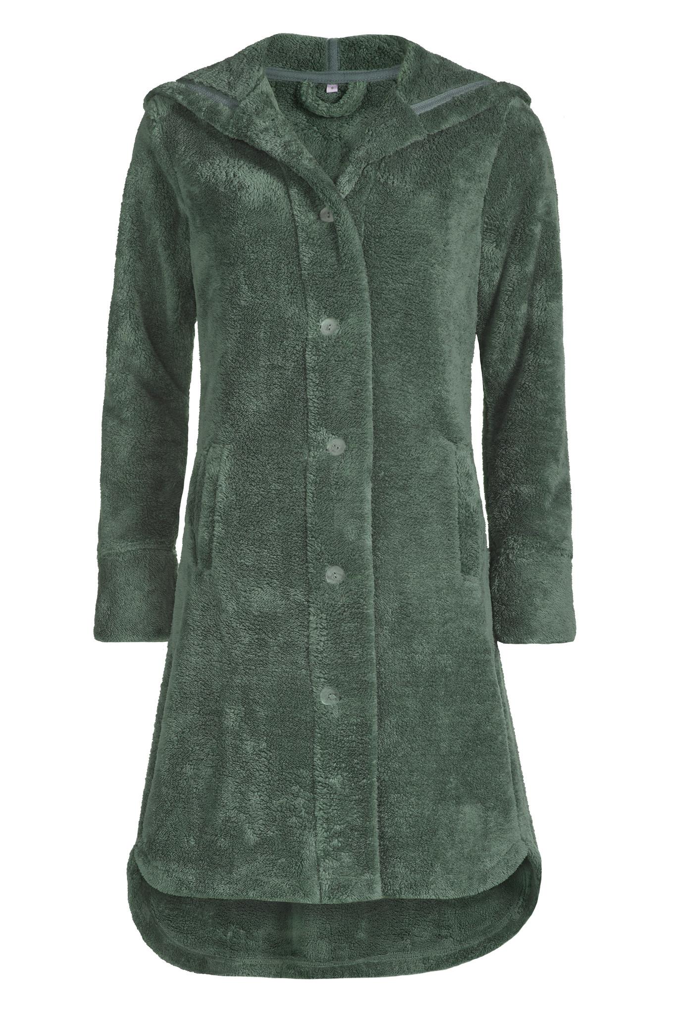 Vandyck dames badjas Alabama kleur Olive met capuchon