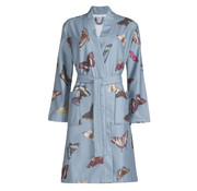 Vandyck Bathrobe LOUISIANA blue (butterfly print)