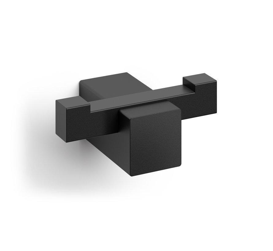 CARVO handdoekhaak dubbel 40504 (gepoedercoat staal, zwart)