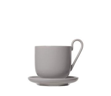 Blomus RO-Set / 2 Kaffeetassen mit Untertasse Trauertaube