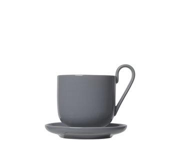 Blomus Juego de RO / 2 tazas de café con platillo Piel de tiburón