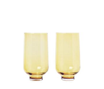 Blomus Vasos de bebida larga FLOW Dull Gold (set / 2)