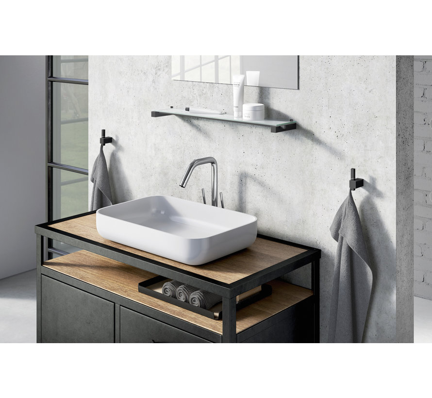 CARVO håndklædekrog 40503 (pulverlakeret stål, sort)