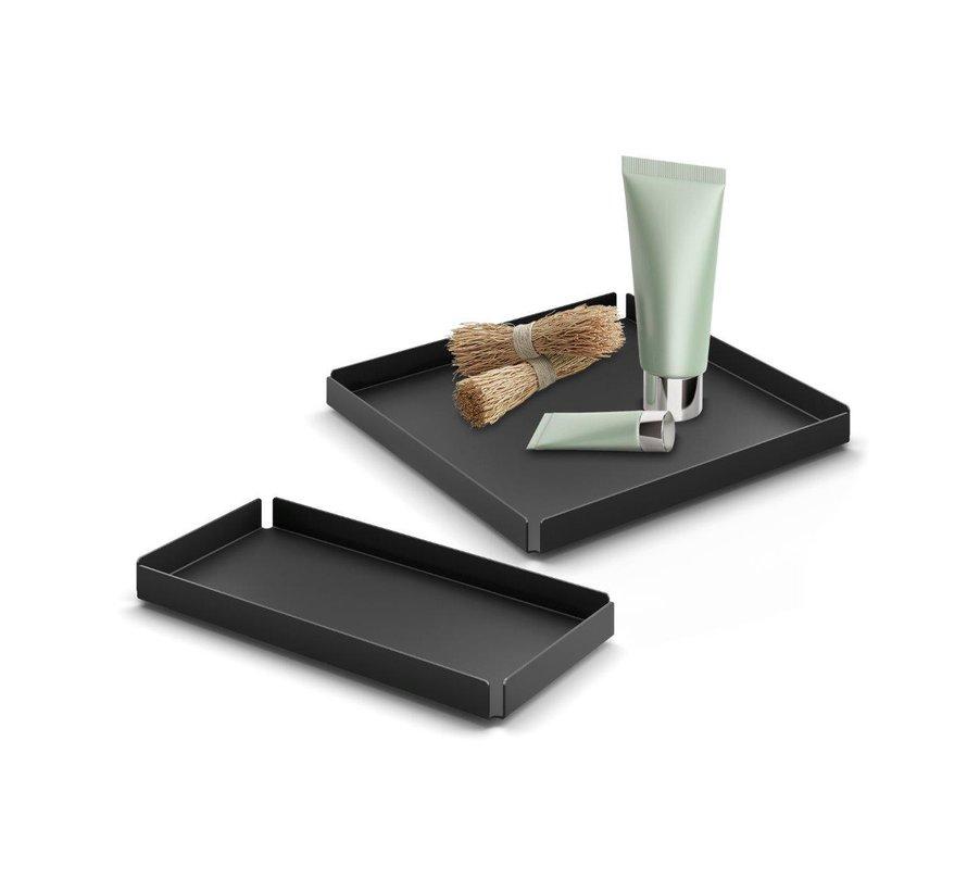 POTES tray / schaal 20x10 cm (gepoedercoat staal, zwart)