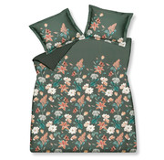 Vandyck Duvet cover FINE LEAVES Earth Green 200x220 cm (satin cotton)