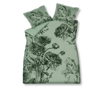 Vandyck Duvet cover NIGHT BLOOM Smoke Green 200x220 cm (satin cotton)