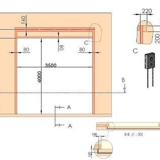 Industrie-Sektionaltor ISO 40 von Torkontor für die Maße 3500 x 4000 mm (BxH)